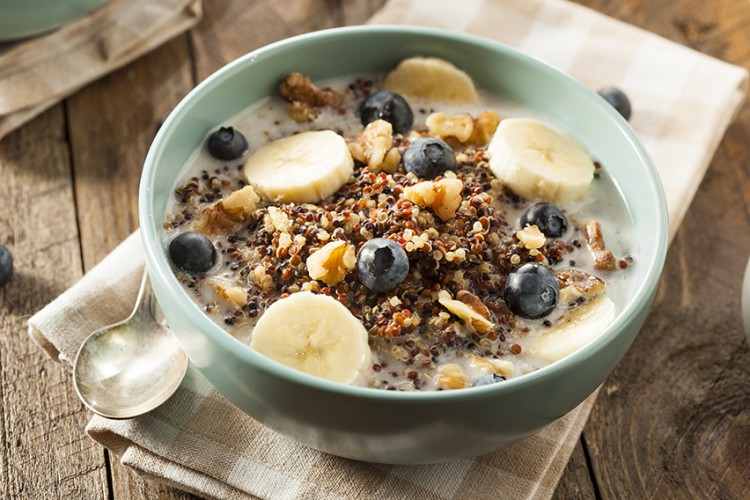 Weight Loss Recipes Ancient Grain Breakfast Bowl with Blueberries