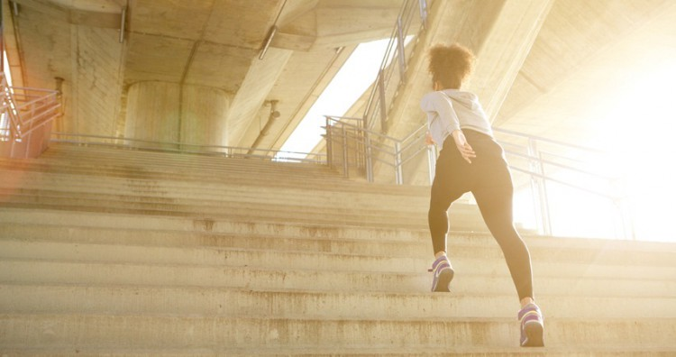 Taking the stairs, and skipping some, is one of many great ways to burn belly fat