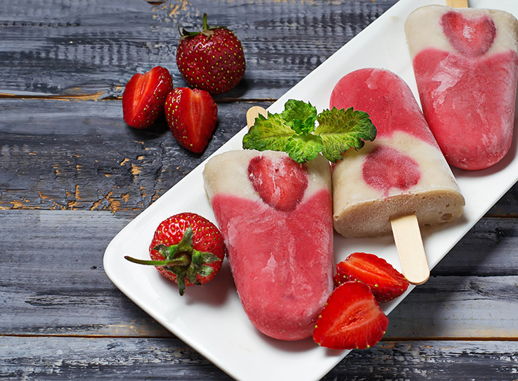 Burn Belly Fat-Strawberry Basil Popsicles