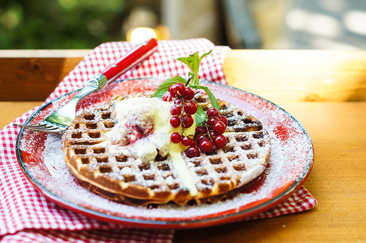 Get A Flat Belly With-Fruit and waffles
