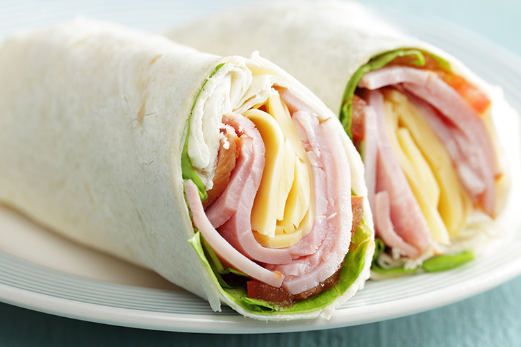 Get Flat Abs with-Apple, ham, and cheese wrap