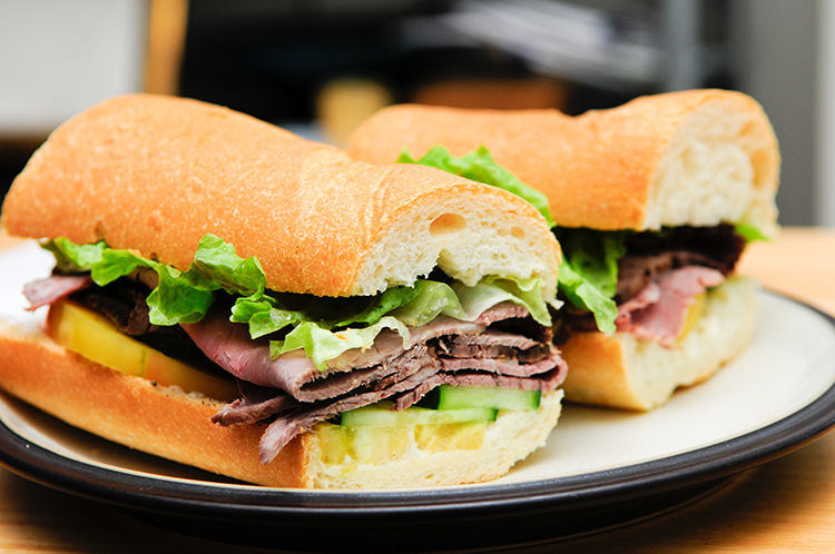 Get Flat Abs with-Roast beef on a roll
