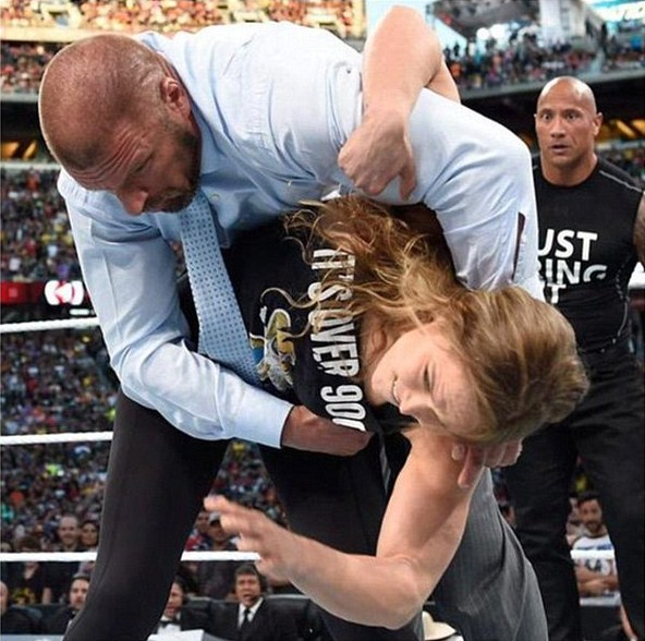 14-Ronda Rousey Throwing Triple H fitness training and sparring