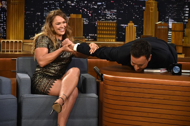 15-Ronda Rousey Arm Lock Jimmy Fallon fitness training and sparring